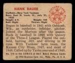 1950 Bowman #219 CPR Hank Bauer  Back Thumbnail