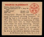 1950 Bowman #97  Mickey McDermott  Back Thumbnail