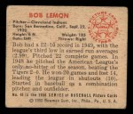 1950 Bowman #40  Bob Lemon  Back Thumbnail