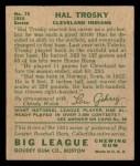 1934 Goudey #76  Hal Trosky  Back Thumbnail
