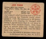 1950 Bowman #12  Joe Page  Back Thumbnail