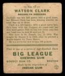 1933 Goudey #17  Watson Clark  Back Thumbnail