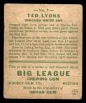 1933 Goudey #7  Ted Lyons  Back Thumbnail