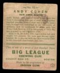 1933 Goudey #52  Andy Cohen  Back Thumbnail