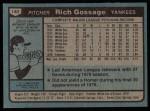1980 Topps #140  Goose Gossage  Back Thumbnail