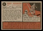 1962 Topps #65  Bobby Richardson  Back Thumbnail