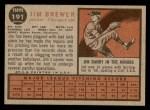 1962 Topps #191 GRN Jim Brewer  Back Thumbnail