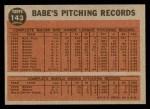 1962 Topps #143 GRN  -  Babe Ruth Greatest Sports Hero Back Thumbnail