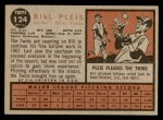 1962 Topps #124 GRN Bill Pleis  Back Thumbnail