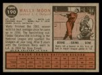 1962 Topps #190 CAP Wally Moon  Back Thumbnail