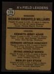 1973 Topps #179 BRN  -  Dick Williams / Jerry Adair / Vern Hoscheit / Irv Noren / Wes Stock  A's Leaders Back Thumbnail