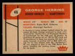 1960 Fleer #46  George Herring  Back Thumbnail