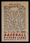 1951 Bowman #77  Mike Goliat  Back Thumbnail
