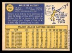 1970 Topps #250  Willie McCovey  Back Thumbnail