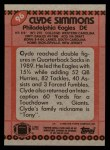 1990 Topps #96  Clyde Simmons  Back Thumbnail