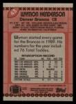 1990 Topps #43  Wymon Henderson  Back Thumbnail