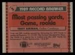 1990 Topps #3   -  Troy Aikman Record Breaker Back Thumbnail