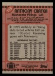 1990 Topps #115  Anthony Carter  Back Thumbnail