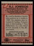 1990 Topps #124  A.J. Johnson  Back Thumbnail