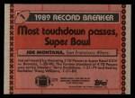 1990 Topps #1   -  Joe Montana Record Breaker Back Thumbnail