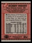 1990 Topps #237  Bobby Hebert  Back Thumbnail