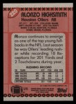 1990 Topps #220  Alonzo Highsmith  Back Thumbnail