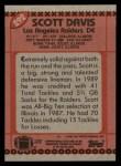 1990 Topps #292  Scott Davis  Back Thumbnail