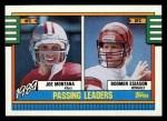 1990 Topps #229   -  Joe Montana / B.Esiason Passing Leaders Front Thumbnail