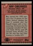 1990 Topps #218  Ray Childress  Back Thumbnail