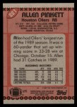1990 Topps #221  Allen Pinkett  Back Thumbnail