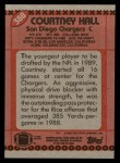 1990 Topps #388  Courtney Hall  Back Thumbnail