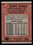 1990 Topps #338  Dave Krieg  Back Thumbnail