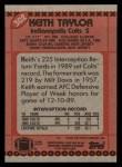 1990 Topps #302  Keith Taylor  Back Thumbnail