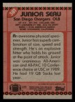 1990 Topps #381  Junior Seau  Back Thumbnail