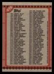 1990 Topps #498   Checklist 133-264 Back Thumbnail