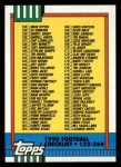 1990 Topps #498   Checklist 133-264 Front Thumbnail