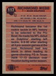 1991 Topps #117  Richmond Webb  Back Thumbnail
