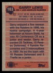 1991 Topps #103  Garry Lewis  Back Thumbnail