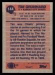 1991 Topps #144  Tim Grunhard  Back Thumbnail