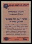 1991 Topps #7  Warren Moon  Back Thumbnail