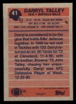 1991 Topps #41  Darryl Talley  Back Thumbnail