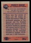 1991 Topps #139  Percy Snow  Back Thumbnail