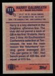 1991 Topps #111  Harry Galbreath  Back Thumbnail