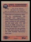 1991 Topps #102  Greg Townsend  Back Thumbnail