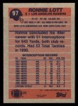 1991 Topps #97  Ronnie Lott  Back Thumbnail