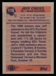 1991 Topps #116  Jeff Cross  Back Thumbnail