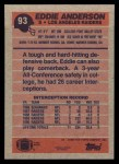 1991 Topps #93  Eddie Anderson  Back Thumbnail