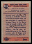 1991 Topps #205  Jerome Brown  Back Thumbnail
