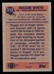 1991 Topps #212  Reggie White  Back Thumbnail