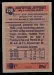 1991 Topps #230  Haywood Jeffires  Back Thumbnail